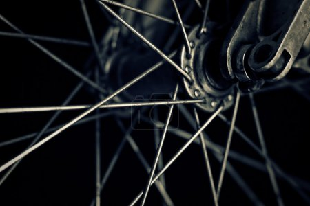 Bicycle wheel, closeup shot. Toned