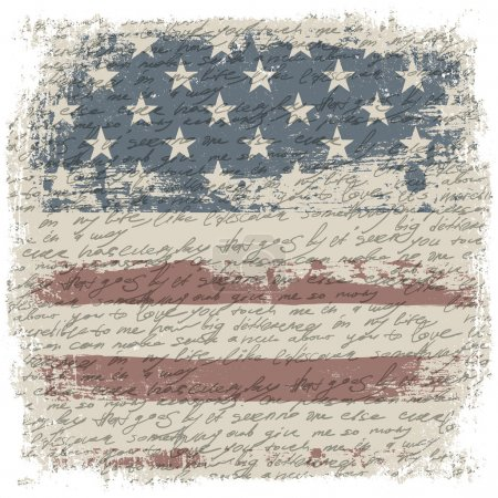 Illustration for Vintage usa flag background with isolate grunge borders. Vector illustration, EPS10 - Royalty Free Image