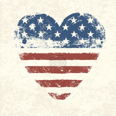 Illustration for Heart shaped american flag. Vector, EPS10 - Royalty Free Image