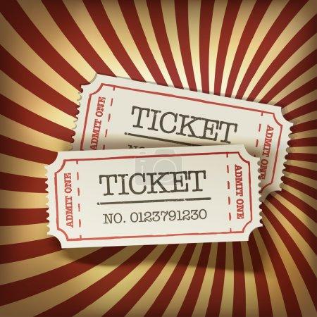 Cinema tickets on retro rays background, vector....