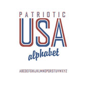 American flag themed alphabet Vector
