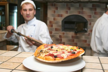 cook with fresh pizza