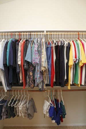 Photo for Casual menswear of dress shirts, polo shirts, t-shirts, short pants and gym shorts hanging neatly in a walk in closet of a home. - Royalty Free Image