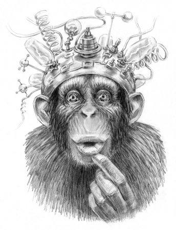 Photo pour Illustration d'un singe avec dispositif de science-fiction sur sa tête. croquis au crayon sur papier. - image libre de droit