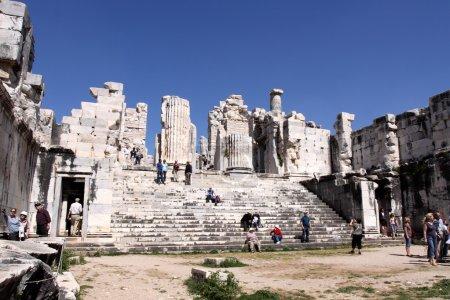 Tourists visiting ruins of Apollo temple in Didim,...