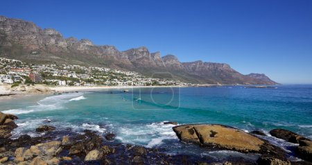 Camps Bay Beach in Cape Town, South Africa, with t...