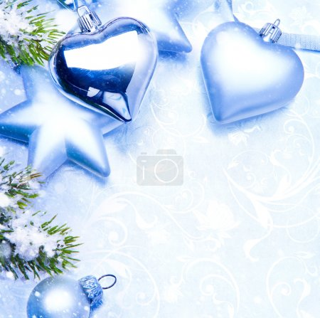 Art christmas greeting card blue background