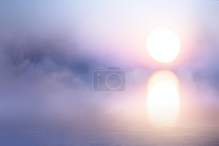 art peaceful background, mist over water at sunrise
