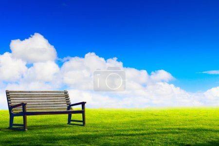 Photo for Art wooden park bench at a park - Royalty Free Image