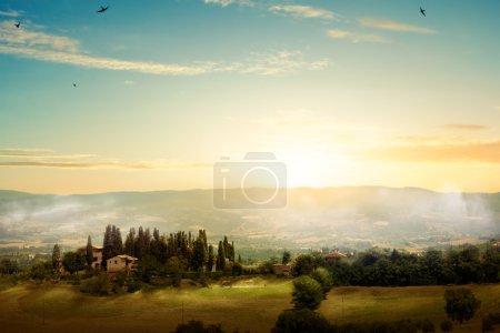 Arte mañana Toscana - paisaje escénico, Italia