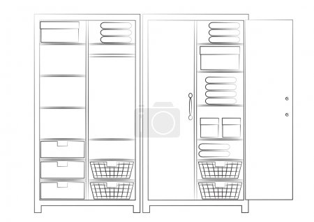 Sketch of two wardrobes
