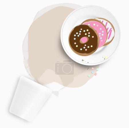 Illustration pour Beignets frais assortis, ou beignets, avec un chocolat sur le dessus servi sur une assiette debout sur une tache de thé ou de café renversé à partir d'une tasse renversée - image libre de droit