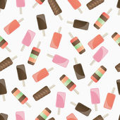 Different popsicles on white background