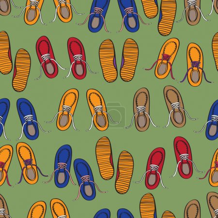 Rows of colourful casual shoes