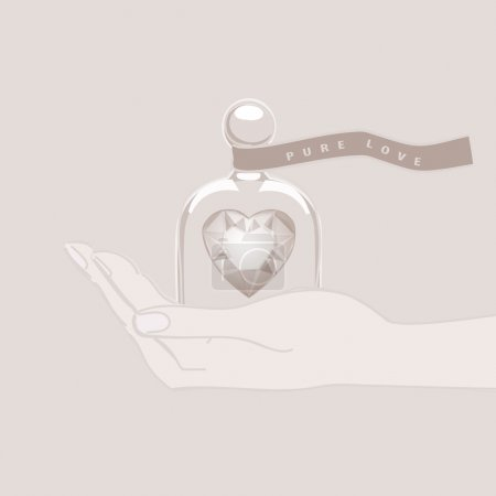 Hand giving the gift of a heart under a glass dome