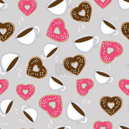 Illustration pour Modèle sans couture de tasses chaudes fumantes de chocolat chaud et chocolat en forme de coeur et beignets roses symboliques de l'amour dispersés sur un fond gris, illustration en format carré - image libre de droit