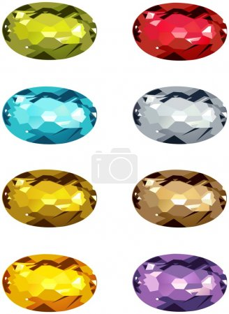 Oval Cut gems in different colors