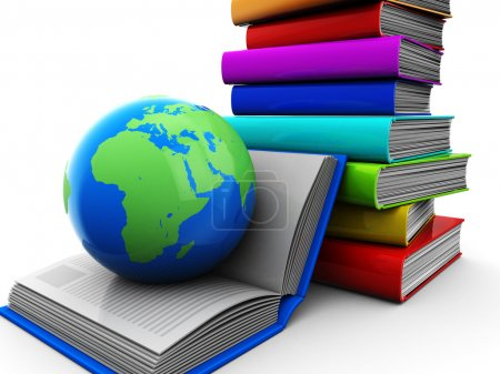 Photo for Education concept, pile of color books with globe - Royalty Free Image