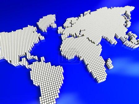 Photo pour Carte de géographie technologie blanc sur bleu - image libre de droit