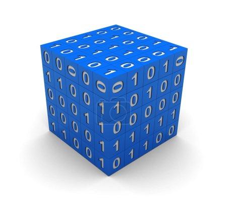 Photo pour 3d technologie cube bleu avec code binaire - image libre de droit
