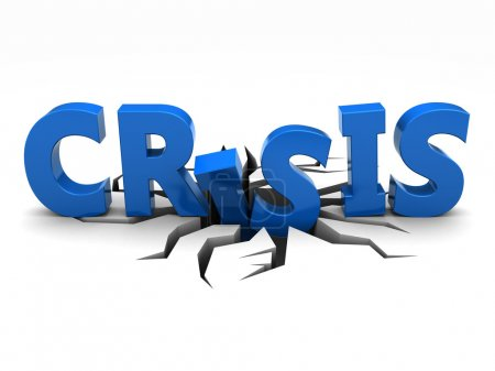Photo for Blue word crisis over crack - Royalty Free Image