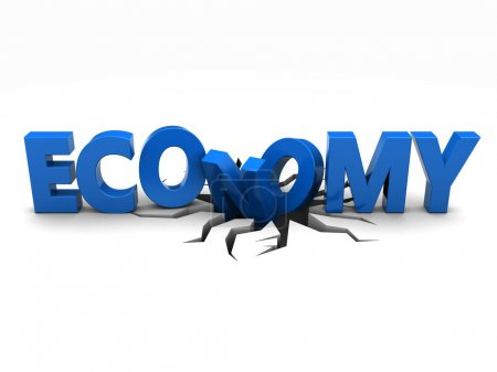 Photo for Blue word economy over crack - Royalty Free Image