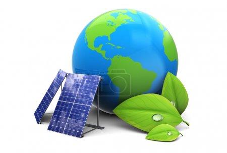 Foto de Ilustración 3d del globo terráqueo con el panel solar, concepto de energía ecológica - Imagen libre de derechos