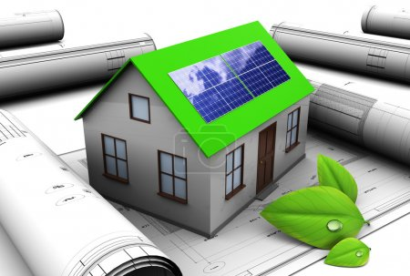 Foto de Ilustración 3D del diseño de la casa con panel solar - Imagen libre de derechos