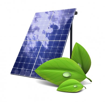 Foto de 3d ilustración de panel solar y hoja verde, concepto de energía ecológica - Imagen libre de derechos