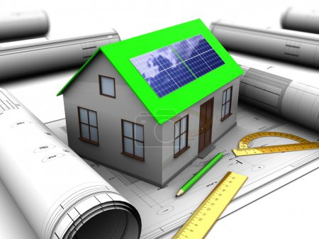 Photo for 3d illustration of house with solar panel and blueprints - Royalty Free Image
