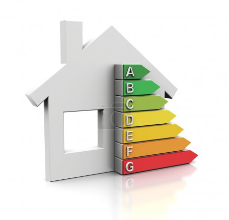 Photo for 3d illustration of house with energy efficiency symbol - Royalty Free Image