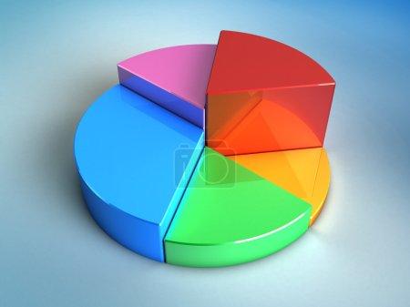 Photo pour Illustration 3d abstraite du graphique brillant de tarte sur fond bleu - image libre de droit