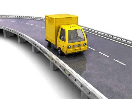 Photo pour Illustration 3D de camion jaune sur route asphaltée, sur fond blanc - image libre de droit