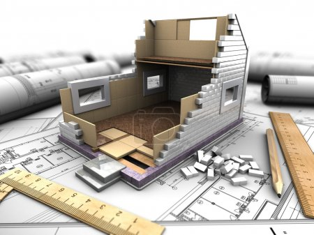 Photo for 3d illustration of a model home in the background drawings - Royalty Free Image