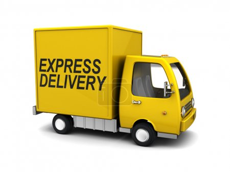Photo for 3d illustration of yellow truck with 'express delivery' sign - Royalty Free Image