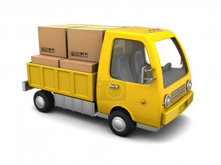 Photo for 3d illustration of small business truck with boxes, over white background - Royalty Free Image