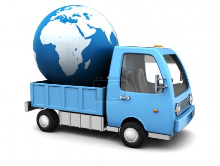 Photo for 3d illustration oftruck with earth globe, international shipping concept - Royalty Free Image