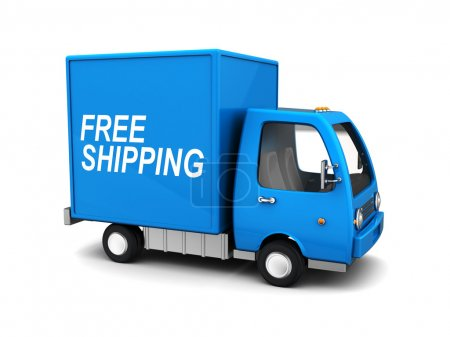Photo for 3d illustration of blue delivery truck with 'free shipping' sign - Royalty Free Image
