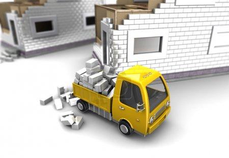 Photo pour Clipart 3D de camion et de briques sur les origines de la construction de bâtiments - image libre de droit