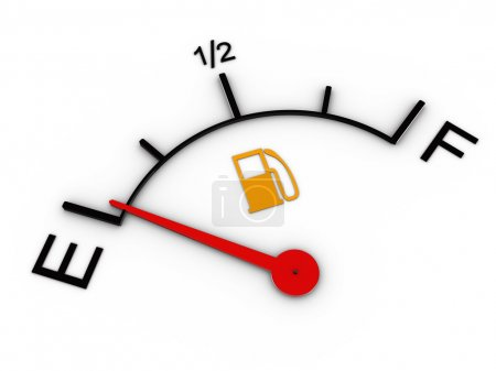 3d illustration of level gauge indicates ran out of petrol
