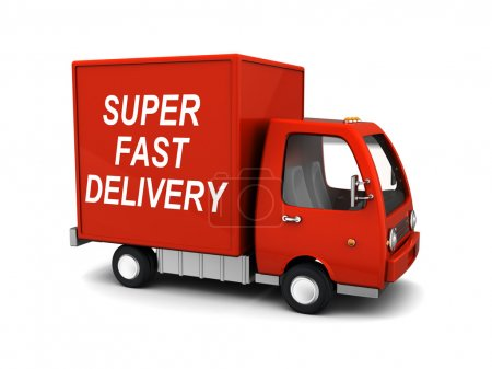 Photo for 3d illustration of delivery truck with 'super fast delivery' sign - Royalty Free Image