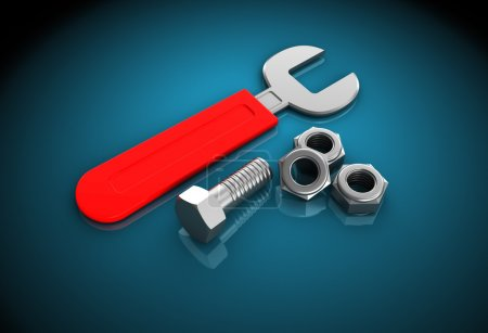 Photo for 3d illustration of wrench with nuts over blue background - Royalty Free Image