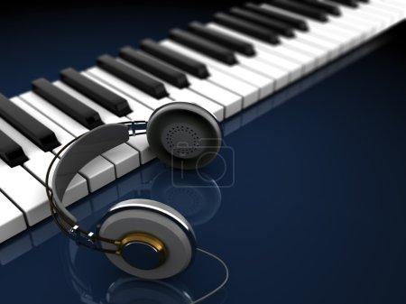 Photo pour Illustration 3D de piano avec des headpones sur fond sombre - image libre de droit