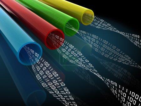 Photo pour Illustration 3D de fils ou de fibres optiques avec code binaire à l'intérieur - image libre de droit