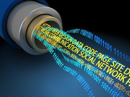 Photo pour Illustration 3D de fil ou de fibre optique avec flux de données Internet - image libre de droit