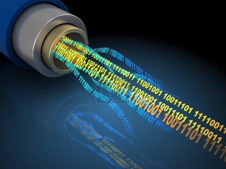 Wire or optical fiber with binary data flow...