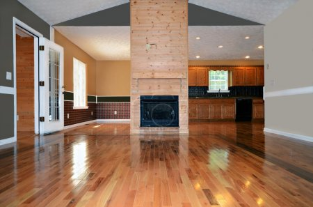 Photo for An empty living area with a fireplace. Behind it is the dining and kitchen area. - Royalty Free Image