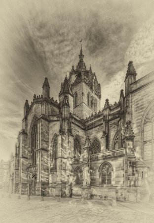 Photo for Vintage-styled view of old Edinburgh - Royalty Free Image