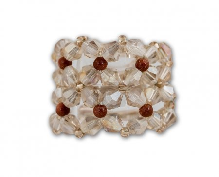 White crystal cluster ring