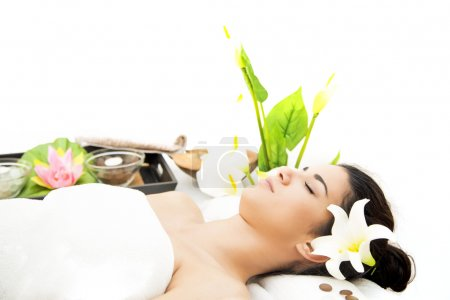 Photo for Pretty young woman having a massage - Royalty Free Image